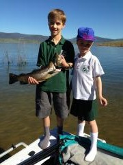 Beau Caddy-Gammell with his sister the fishing guide